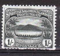British Solomon Islands Edward VII 1908 Single One Shilling Black/green Definitive Stamp. - British Solomon Islands (...-1978)
