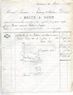 Facture 1880 / 67 STRASBOURG / BELTZ & AUER / Houblon De Bohème / Adressée Lemaire 88 FONTENOY LE CHATEAU - France