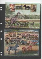 TANZANIA  ,2012, MNH,LIONS, CHEETAHS, WILD DOGS, ZEBRAS, ELEPHANTS, ZEBRAS, 2 SHEETLETS - Felinos