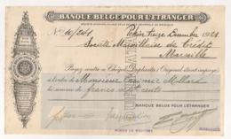 1921 CHEQUE / BANQUE BELGE POUR L'ETRANGER  / AGENCE DE PEKIN CHINE  E12 - Chèques & Chèques De Voyage