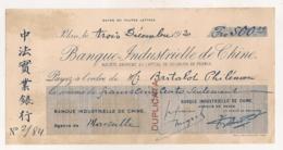 1920 CHEQUE / BANQUE INDUSTRIELLE DE CHINE   / AGENCE DE MARSEILLE  FAIT A PEKIN   E12 - Chèques & Chèques De Voyage