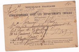 Carte De Correspondance Avec Les Départements Envahis, 1917, De La Garenne Colombes à Cambrai (Nord) — Catherine Normand - Guerre 1914-18