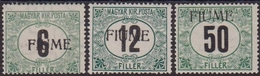 """299 ** Fiume – 1918-19 Segnatasse D'Ungheria Soprastampati """"FIUME"""" N. 1A/3A. Cert. Raybaudi. Cat. € 4200,00. SPL - 8. Occupazione 1a Guerra"""