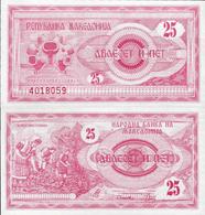 Macedonia 1992 - 25 Dinars - Pick 2 UNC - Macédoine