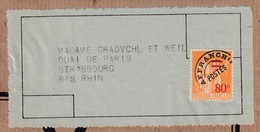 Etiquette-adresse Affr Y&T 74 Adressée à Strasbourg - 1893-1947