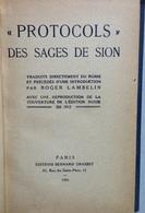 Roger Lambelin Protocols De Sages De Sion Editions Bernard Grasset Paris 1933 - Livres, BD, Revues