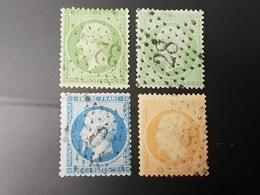 Napoléon III  N° 20/20g(vert Sur Verdâtre)/21/22  Avec Oblitération Etoile, Cote: 47 €  TB - 1862 Napoléon III