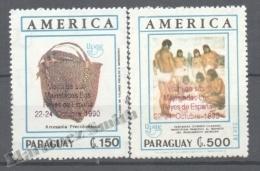 Paraguay 1990 Yvert 2525 + A-1187, América UPAEP, Overprinted Kings Spain Visit - MNH - Paraguay