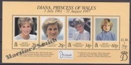 British Indian Ocean 1998 Yvert BF 10, Tribute To Diana The Princess Of Wales - Miniature Sheet- MNH - British Indian Ocean Territory (BIOT)