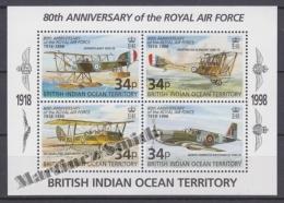 British Indian Ocean 1998 Yvert BF 11, 80th Anniversary Of The Royal Air Force - Miniature Sheet- MNH - British Indian Ocean Territory (BIOT)