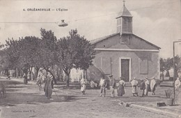CPA  Orléansville  Chlef   (Algérie)  L'Eglise Animée  éditeur  Ideal  P S N° 4   Cachet Militaire - Chlef (Orléansville)
