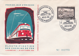 FDC (enveloppe)  Luxembourg - Electrification Des Chemins De Fer - 1956 - Timbre N° 517 - FDC