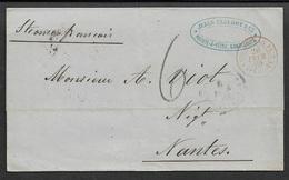 1869 LSC COLONIES - GUADELOUPE A NANTES - Par STEAMER FRANÇAIS - POINTE A PITRE - Postmark Collection (Covers)