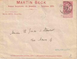 "ENTIER (B) BRIEFOMSLAG 10 Ct.  MET REKLAME  !!!  ""BRUXELLES 7 MAI 02 / DEPART""  En Reklame Op RECTO !!! ""MARTIN BECK"" - Entiers Postaux"