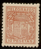 ESPAÑA Telégrafos  Edifil 75* Mh 10 Ptas Castaño  Escudo España  1932/33  NL804 - Télégraphe