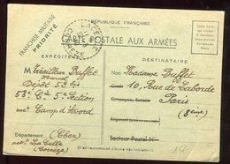Carte FM Du Camp D 'Avord Pour Paris En 1940 - N292 - Marcophilie (Lettres)