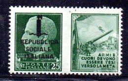 W450 - R.S.I. 1944 , Propaganda Di Guerra 25 Cent Nuovo ** - 4. 1944-45 Repubblica Sociale