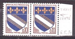 """France - 1962/65 - Variété """"trait Coupé"""" Sur N° 1353 - Neuf ** - Troyes - Paire - Variétés: 1960-69 Neufs"""