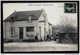 CPA ANCIENNE FRANCE- LORREZ-LE-BOCAGE (77)- CAFÉ DE LA GARE EN HIVER- TRES GROS PLAN AVEC ANIMATION- - Lorrez Le Bocage Preaux