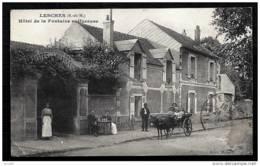 CPA ANCIENNE FRANCE- LESCHES (77)- HOTEL DE LA FONTAINE SULFUREUSE EN TRES GROS PLAN- ANIMATION- ATTELAGE ANE- - Frankreich
