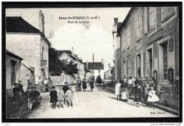 CPA ANCIENNE FRANCE- JOUY-LE-CHÂTEL (77)- RUE DE LA GARE EN GROS PLAN- TRES BELLE ANIMATION- ATTELAGES- IMPRIMERIE - Frankreich