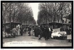 CPA ANCIENNE FRANCE- CHATOU (78)- LE MARCHÉ EN HIVER- TRES BELLE ANIMATION GROS PLAN- STANDS - Chatou