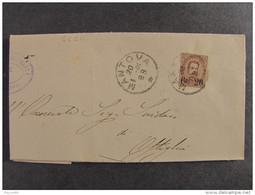 "4420 ITALIA Regno-1890-91- ""Effigie Umberto Sopr."" C. 20 Su 30 MANTOVA>OSTIGLIA (descrizione) - 1878-00 Umberto I"