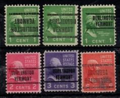 "USA Precancel Vorausentwertung Preo, Locals ""BURLINGTON"" (VERMONT). 6 Différents. - Stati Uniti"