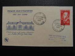 1951 - YT N° 880 JULES FERRY Sur ENVELOPPE ILLUSTRÉE PREMIER JOUR FDC Cachet Special SAINT DIÉ - ....-1949