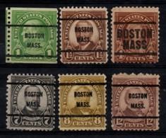 """USA Precancel Vorausentwertung Preo, Locals """"BOSTON"""" (MASS). 6 Différents. - Stati Uniti"""