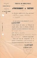 1917 - LA TOUR  DE FRANCE (66) - AVERTISSEMENT A PRÉVENU Pour Défaut De Guides & RAYMONDIS Camionneur - Documenti Storici