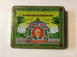 TOBACCO  TIN  BOX  EGYPTIAN CIGARETTE MANUFACTORY  SIMON ARZT - Schnupftabakdosen (leer)