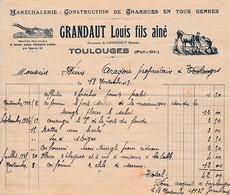 1935 - TOULOUGES (66) - MARÉCHALERIE, Construction De CHARRUES En Tous Genres - GRANDAUT Louis, Fils Aîné - Documents Historiques
