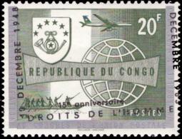 Congo 0523**  Droits De L'Homme MNH Surcharge Très Déplacée - République Du Congo (1960-64)