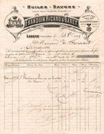 8655- 2018  FACTURE HUILES ET SAVONS ETS FRANQUIN RICARD ET BARET LANCON 1909 - Droguerie & Parfumerie