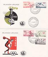 Série 2 FDC Ruanda-Urundi - Timbres N° 219/23 - Commémoration Des XVII E Jeux Olympiques De Rome - 1960 - Ruanda-Urundi