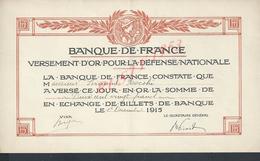 MILITARIA BANQUE DE FRANCE VERSEMENT D OR POUR LA DEFENSE NATIONALE ILLUSTRÉE 1915 DE Mad J ROCCHI : - 1914-18