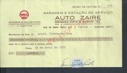 PORTUGAL FACTURE DE 1975 AUTOMOBILE AUTO ZAIRE SHELL : - Portugal