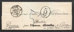 1859 - LSC PARIS A, POSEN (PRUSSE) Par BERLIN - Adressé A JOHN KOZMIAN (Célèbre Prêtre De Posen ) - Postmark Collection (Covers)