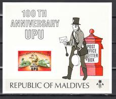 Maldives1974,1 Block,IMP,centenario De La UPU 1874-1974,Union Postale Universelle,MNH/Postfris(L3337) - UPU (Universal Postal Union)