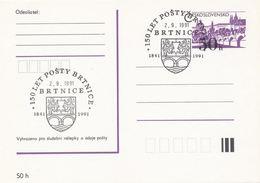 I0301 - Tchécoslovaquie (1991) Brtnice: 150 Ans De La Poste De Brtnice, 1841-1991 (armoiries - Ville De Brtnice) - Poste