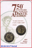 ITALIE - COINCARD 2 € 2015 BU - DANTE ALIGHIERI + 2 € 2015 BU - KOERSMUNT - Italie
