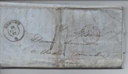 /LETTRE DE   ROMONT 1862  FRIBOURG  POUR LA FRANCE  CHAROLLES SAONE ET LOIRE  TAXE 4  CACHT  ROUGE - 1862-1881 Helvetia Seduta (dentellati)