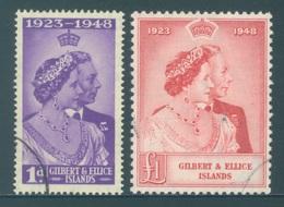 GILBERT ELLICE -  USED/OBLIT. - 1949 - ELIZABETH II SILVER WEDDING - Yv 52-53 -  Lot 18268 - BAD CANCELLATION - Îles Gilbert Et Ellice (...-1979)