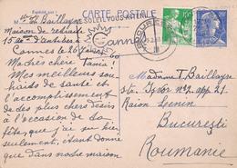 CARTE / ENTIER POSTAL : MARIANNE De MULLER - ENVOI De CANNES à BUCAREST En JANVIER 1960 - LE SOLEIL VOUS ATTEND (aa222) - Postal Stamped Stationery