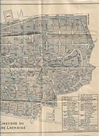 751019 CIMETIERE PERE LACHAISE  PLAN  DES ALLEES TOMBES PARIS - Planches & Plans Techniques