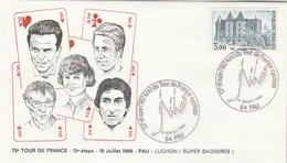 Enveloppe Tour De France Cycliste Pau Luchon Super Bagnères Cachet 64 PAU 16/7/1986 - Ciclismo