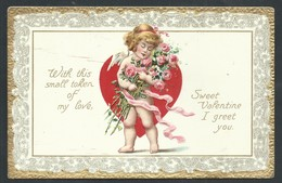 +++ CPA Fantaisie - Fantasy Card - Valentine - Cupidon Love Coeur - Dorure - Ange Angelot Chérubin - Embossed Relief  // - Saint-Valentin