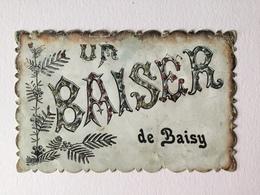 GENAPPE « UN BAISER DE BAISY  «décorée De Strasses Paillettes Colorées ,relief  ,effet Nacré (1908 )Édit V.P.F . - Genappe