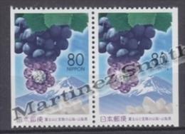 Japan - Japon 2001 Yvert 3019a, Mount Fuji, Grapes, Yamanashi Prefecture - Pair From Booklet - MNH - 1989-... Emperador Akihito (Era Heisei)